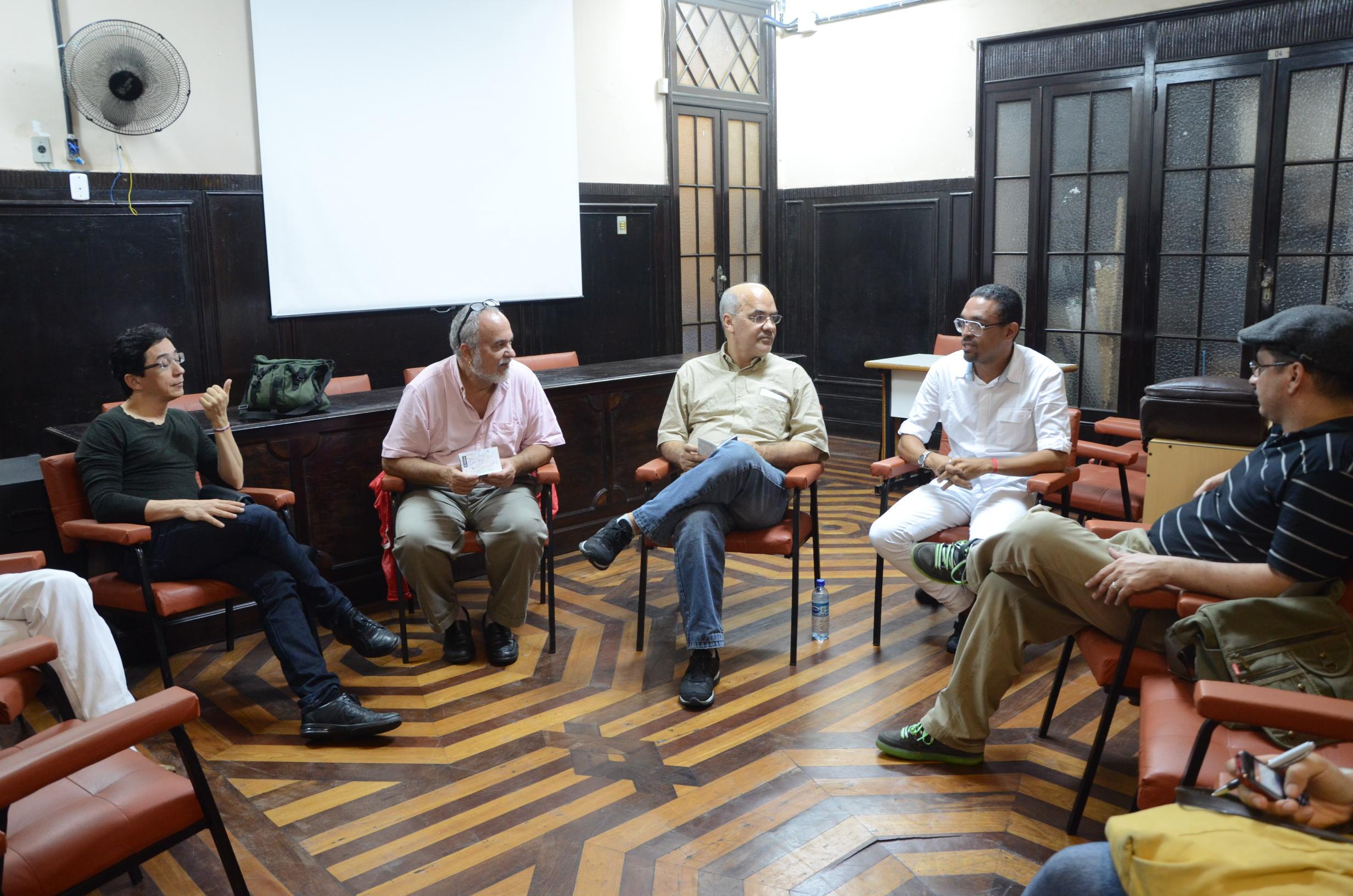 Da esquerda para a direita: Marcus Vinícius Rodrigues, Luiz Mott, Luís Antônio Cajazeira Ramos e Marielson Carvalho.  Foto: Vanice da Mata