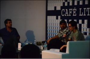 Miguel Jost, André Vianco e Antônio Xernenesky no Café Literário Foto: Gustavo Salgado