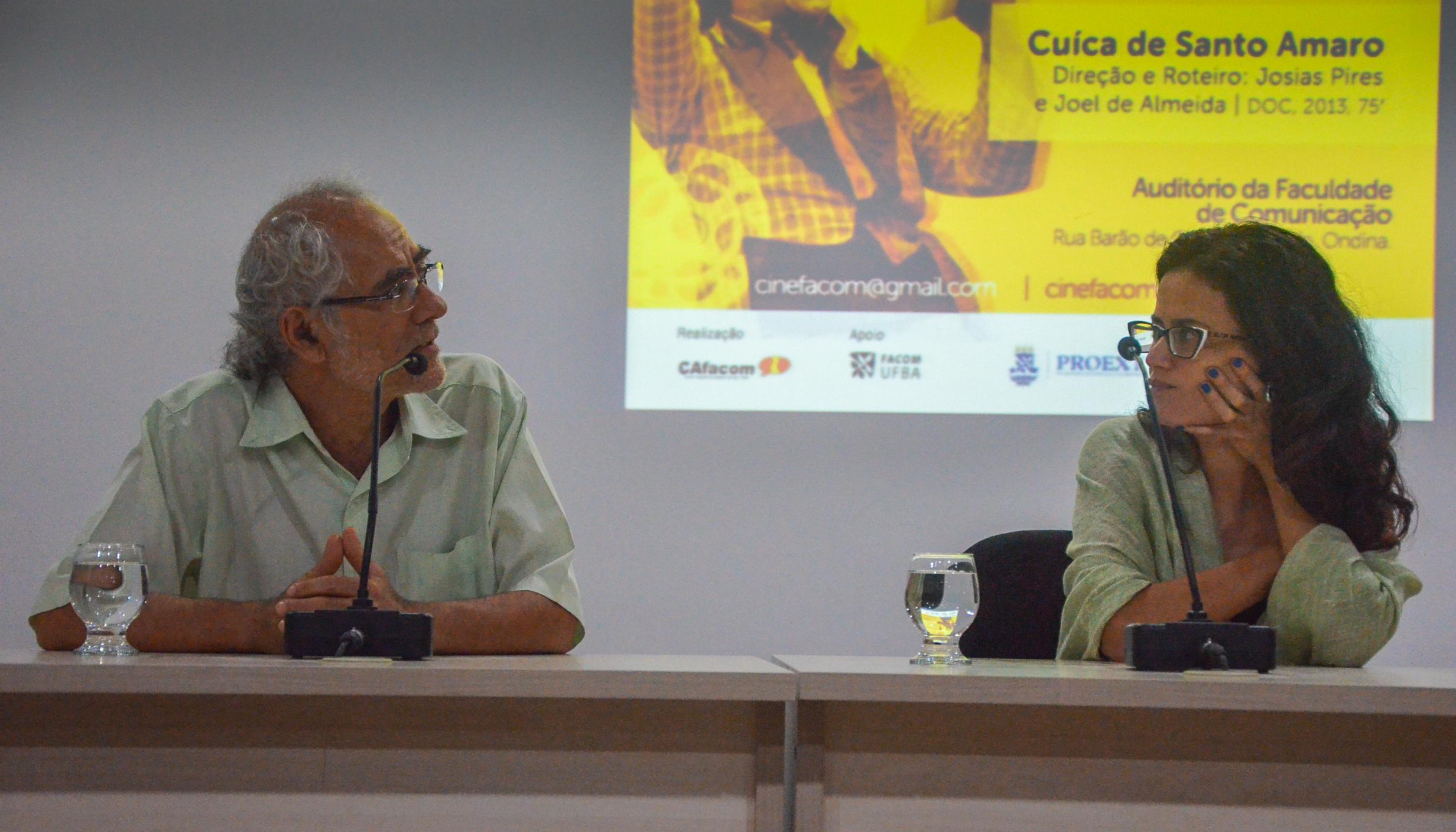 Josias Pires e Ana Rosa Marques dividiram a mesa de debate no CineFacom Foto: Gustavo Salgado