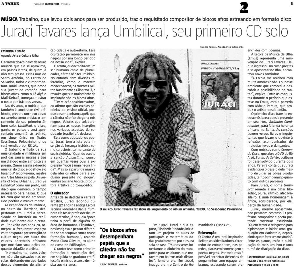 Matéria publicada no Jornal A Tarde.