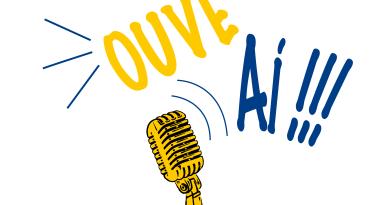 No centro de uma imagem com fundo brancom estão as palavras ouve aí. Embaixo, está um microfone amarelo.