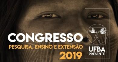 O texto Congresso Pesquisa, Ensino e Extensão 2019 aparece em cima da fotografia de um índio.
