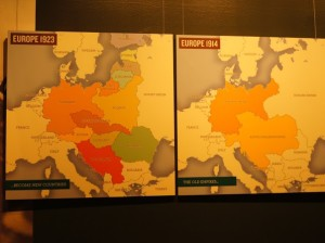 Mapas comparativos – A Europa antes e depois da Primeira Guerra Mundial (Fonte: National Air and Space Museum. Smithsonian Institution. Washington, D.C.)