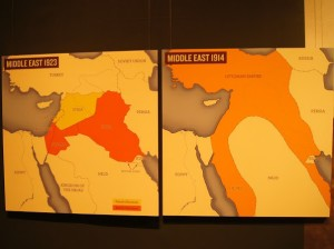 Mapas comparativos – O Oriente Médio antes e depois da Primeira Guerra Mundial (Fonte: National Air and Space Museum. Smithsonian Institution. Washington, D.C.)
