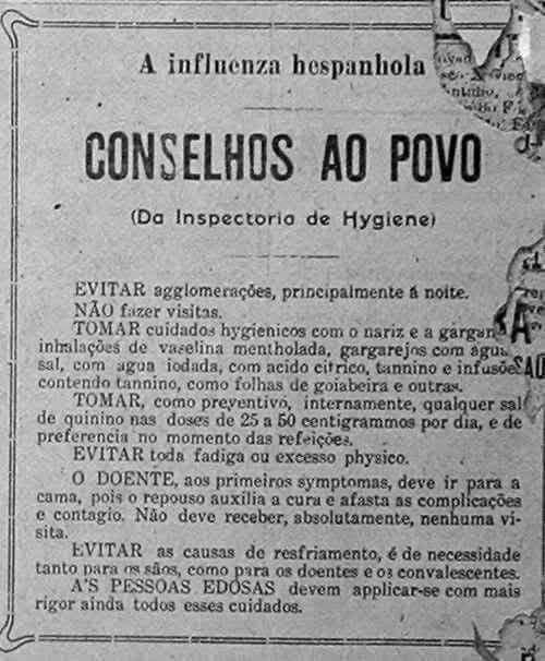 """Recomendações da Inspetoria de Higiene à população, durante a """"gripe espanhola"""" (1919)"""