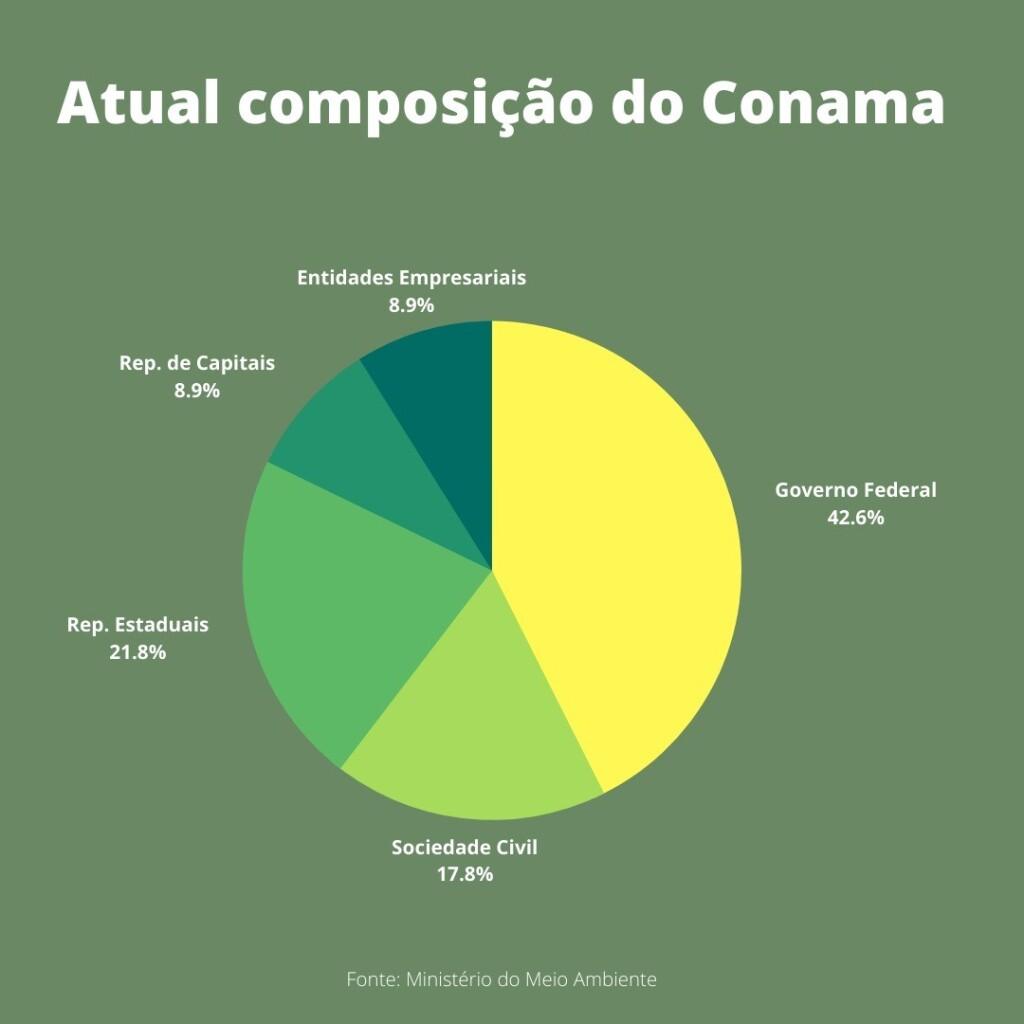 As porcentagens correspondem aos números indicados pelo Ministério do Meio Ambiente